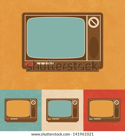 Retro Icons - Television Set - stock vector