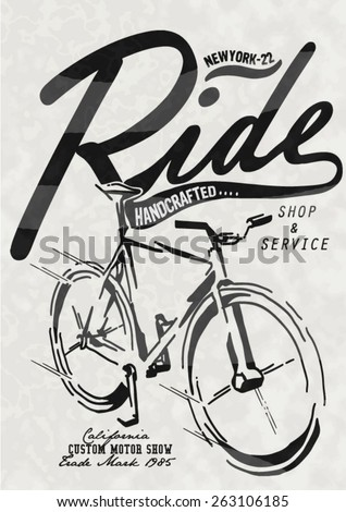 Retro Illustration Bicycle - stock vector