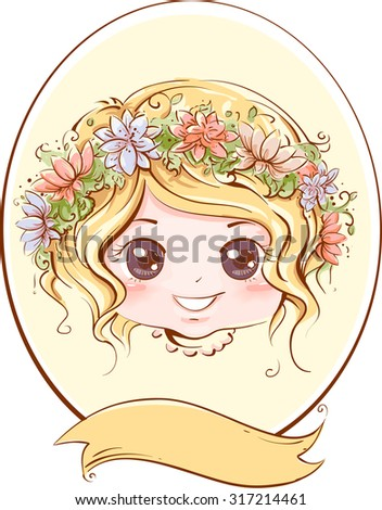 Retro Illustration of a Little Girl with a Band of Flowers Adorning Her Head - stock vector