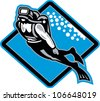 Retro illustration of a scuba diver diving swimming up underwater set inside diamond shape done in woodcut style. - stock vector