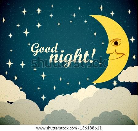 Retro illustration of a smiling moon wishing good night. EPS10 vector. - stock vector