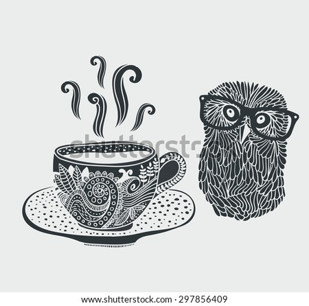 Retro illustration of cute hipster owl and decorative cup of tea. - stock vector