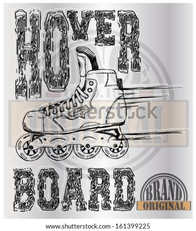 retro illustration skate and artistic type and background - stock vector