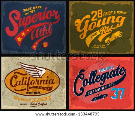 retro illustration typography t-shirt printing motor wing with wording for apparel - stock vector