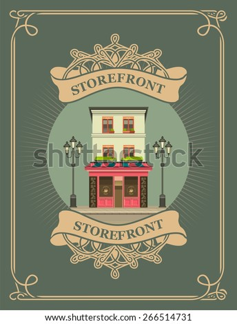 retro illustration vector composition urban scene in a circular shape and vintage pattern - stock vector