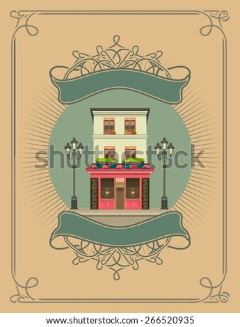 retro illustration vector composition urban scene in a circular shape and vintage pattern