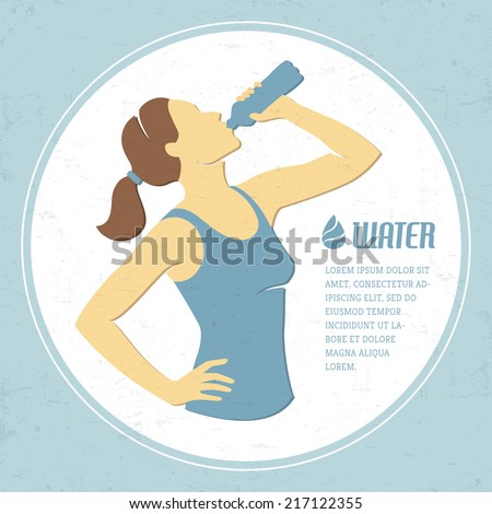 Retro illustration with girl drinking water - stock vector