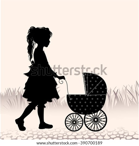 Retro illustration with silhouette little girl walking with toy- stroller - stock vector