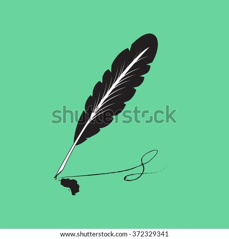 Retro image of the icon of the old writing pen. Isolated on a colored background. Vector illustration.
