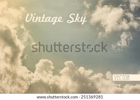Retro image with vintage sky only, is textured in a strips. Vector background - stock vector