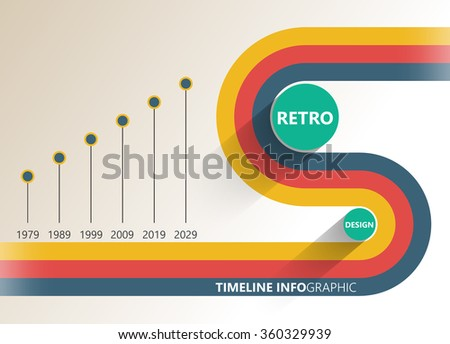 Retro info-graphic time-line report. Simple geometric shapes. - stock vector