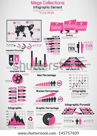 RETRO INFOGRAPHIC DEMOGRAPHIC WORLD MAP ELEMENTS FUCHSIA - stock vector