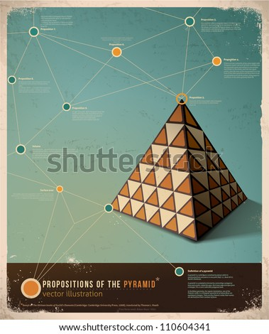 Retro Infographic template design; Propositions of the Pyramid,  Vector Illustration - stock vector