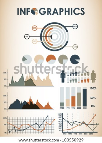 Retro infographics set. - stock vector