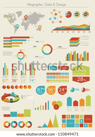 Retro infographics set. World Map and Information Graphics - stock vector