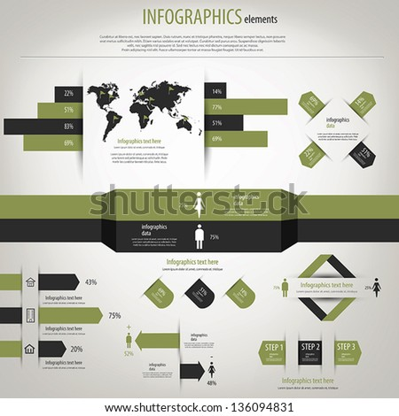 Retro infographics set. World Map and Information Graphics. Vector