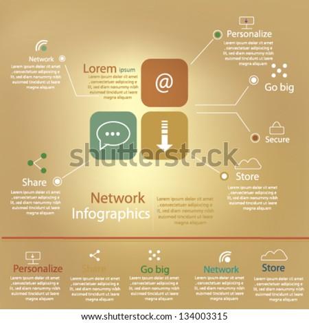 Retro Infographics with network elements - stock vector
