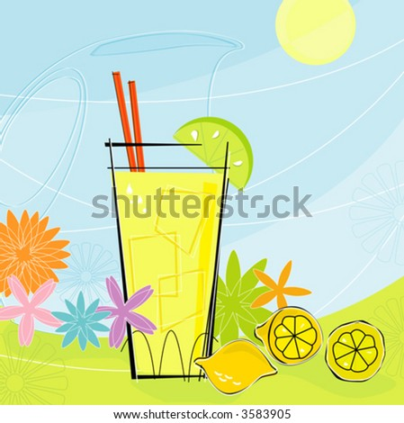 Retro-inspired Lemonade with pitcher and summer flowers. Each item is grouped so you can use them independently from the background. Layered file for easy edit. - stock vector