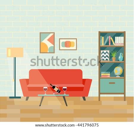 Retro Interior Living Room Brick Wall And Parquet Romantic Date Flat Design