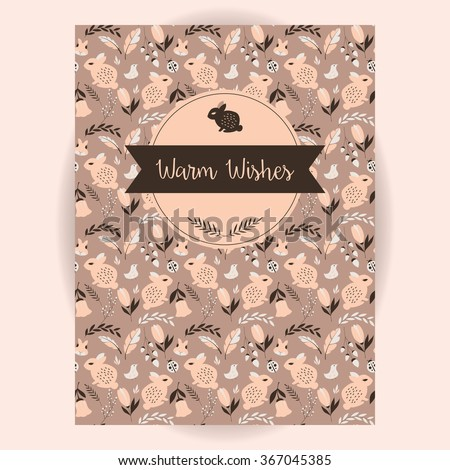 Retro invitation and greeting card design with seamless animal and flower pattern, vector illustration - stock vector