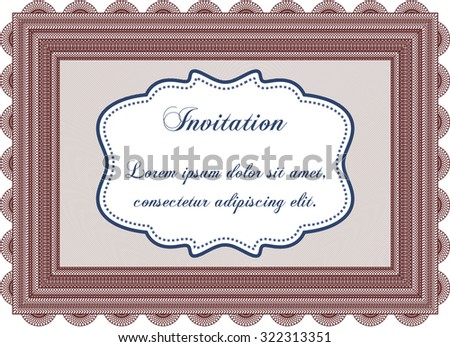 Retro invitation. Border, frame.Elegant design. Printer friendly.  - stock vector
