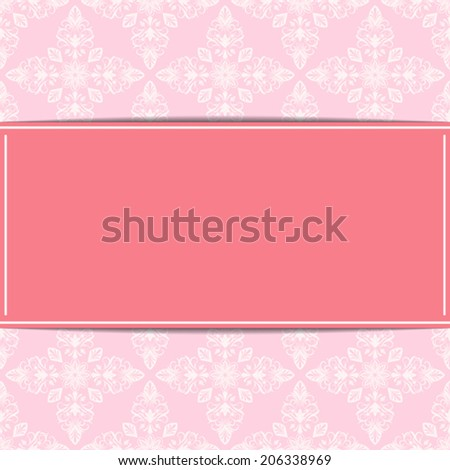Retro invitation card vector template with floral pattern.