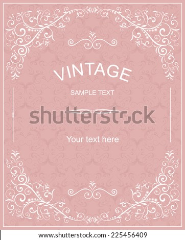 retro Invitation card with damask background and elegant floral elements