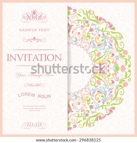 retro Invitation or wedding card with damask background and elegant floral wreath - stock vector