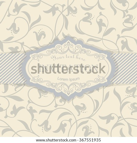 retro Invitation or wedding card with victorian background
