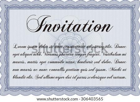 Retro invitation template. Border, frame.Excellent complex design. With complex linear background.  - stock vector