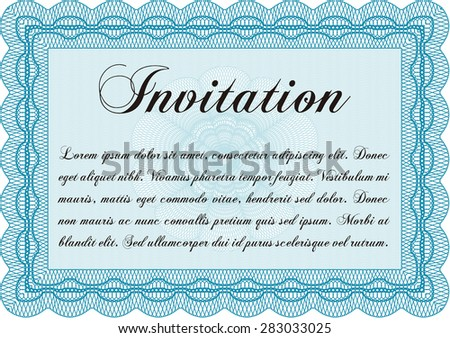 Retro invitation template. Complex background. Customizable, Easy to edit and change colors.Excellent complex design.  - stock vector