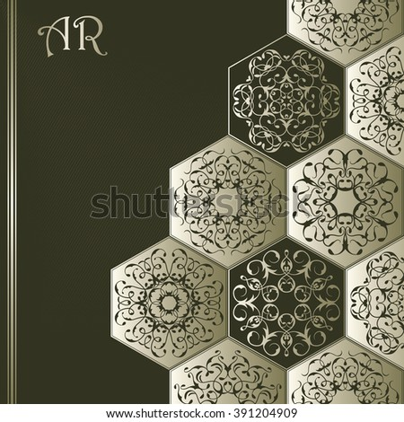 Retro invitation with vintage diamond ornament. Vector jewelry pattern. Luxury design and decoration, striped background