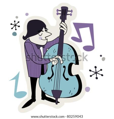 Cartoon Jazz Band Retro Jazz Bass Player Cartoon