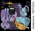 Retro Jazz Instruments Illustration - stock vector