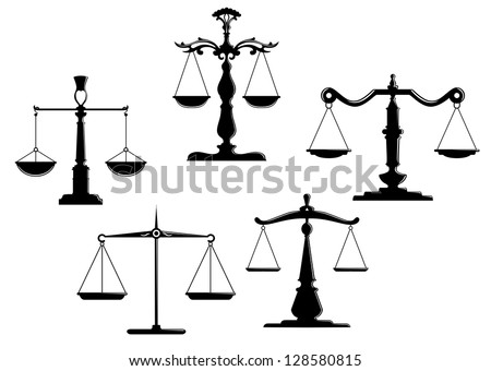 Retro justice scales set isolated on white background. Jpeg version also available in gallery - stock vector