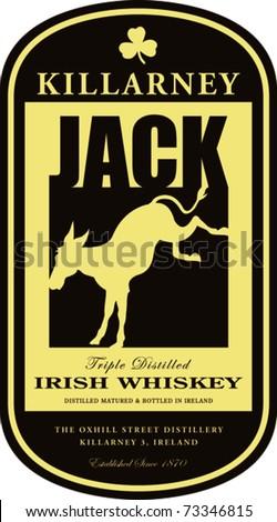Retro Killarney Irish Whiskey Oval Label Vector Illustration - stock vector