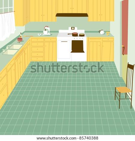 cartoon kitchen stock images royalty free images. Black Bedroom Furniture Sets. Home Design Ideas