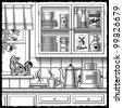 Retro kitchen black and white. Vector - stock vector