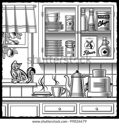 Retro kitchen black and white. Vector - stock vector