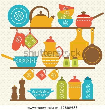Retro kitchen shelves design. - stock vector