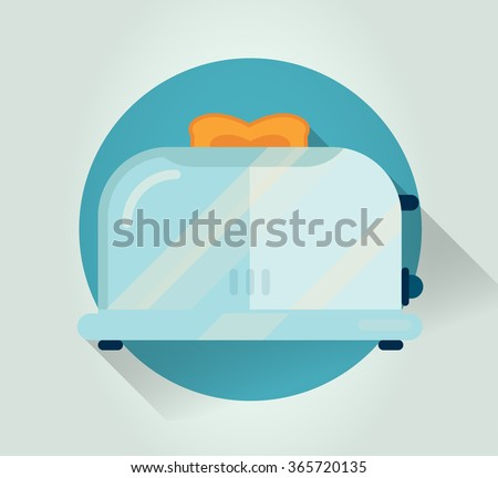 Retro kitchen toaster icon. Colorful vector cook icon. Stylized kitchenware object in flat style with long shadow. Background illustration for cookbook printing, web banners or card elements. - stock vector
