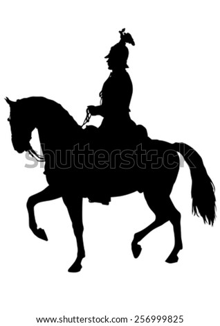Retro knight and horse on white background - stock vector