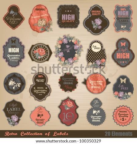 Retro label collection - stock vector