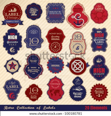 Retro label collection. Nautical theme - stock vector