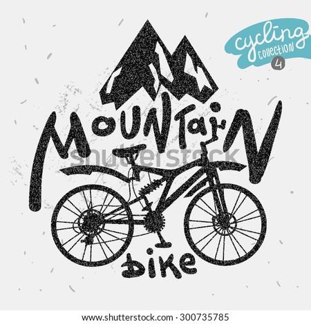 Retro label mountain bike. Hand drawn lettering. - stock vector