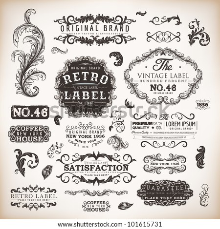 retro label style collection | vintage page elements set