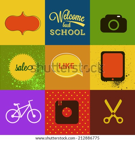 retro label with hipster phrase elements vector - stock vector