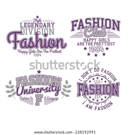 Retro Labels Fashion Set Graphics - stock vector