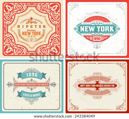 Retro labels set. vector - file - stock vector