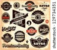 Retro labels. Vintage labels collection. Premium Quality Guarantee vintage styled signs set. - stock